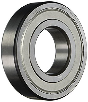 SKF Radial Bearing, Single Row, Deep Groove Design, ABEC 1 Precision, Double Shielded, Non-Contact, Normal Clearance, Steel Cage, Metric
