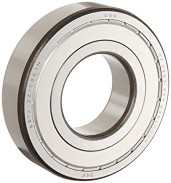SKF Medium Series Deep Groove Ball Bearing, Deep Groove Design, ABEC 1 Precision, Double Shielded, Non-Contact, Steel Cage, C3 Clearance