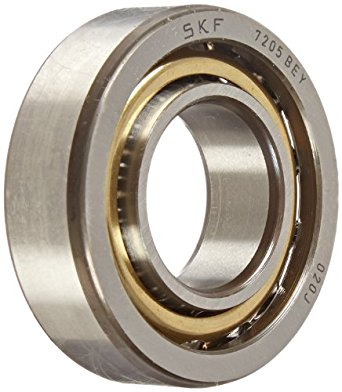 SKF 7205 BEY Light Series Angular Contact Ball Bearing, ABEC 1 Precision, 40° Contact Angle, Maximum Capacity, Open, Brass Cage, Normal Clearance, 25mm Bore, 52mm OD, 15mm Width, 10200.0 pounds Static Load Capacity, 15600.00 pounds Dynamic Load Capacity