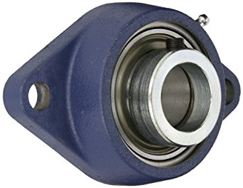 SKF FYTB 35 FM Ball Bearing Flange Unit, 2 Bolts, Eccentric Collar, Regreasable, Contact Seal, Cast Iron, Metric, 35mm Bore, 100mm Bolt Hole Spacing Width