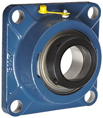 """SKF FY 1.1/4 AFM Ball Bearing Flange Unit, 4 Bolts, Eccentric Collar, Regreasable, Contact Seal, Cast Iron, Inch, 1.25"""" Bore, 3-1/4"""" Bolt Hole Spacing Width, 3380lbf Dynamic Load Capacity"""