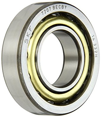 SKF 7207 BECBY Light Series Angular Contact Ball Bearing, Universal Mounting, ABEC 1 Precision, 40° Contact Angle, Open, Brass Cage, Normal Clearance, 35mm Bore, 72mm OD, 17mm Width, 19000.0 pounds Static Load Capacity, 29100.00 pounds Dynamic Load Capacity